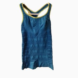 Nike l running tank dri-fit blue green shelf bra